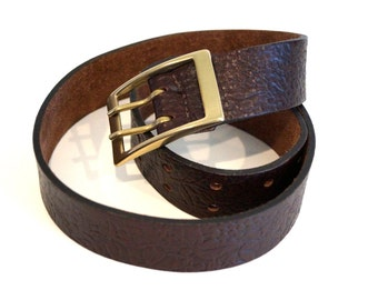 Embossed leather belt. Very thick Brown real leather belt Genuine leather belt with solid brass buckle Made in Italy  Italian leather belt