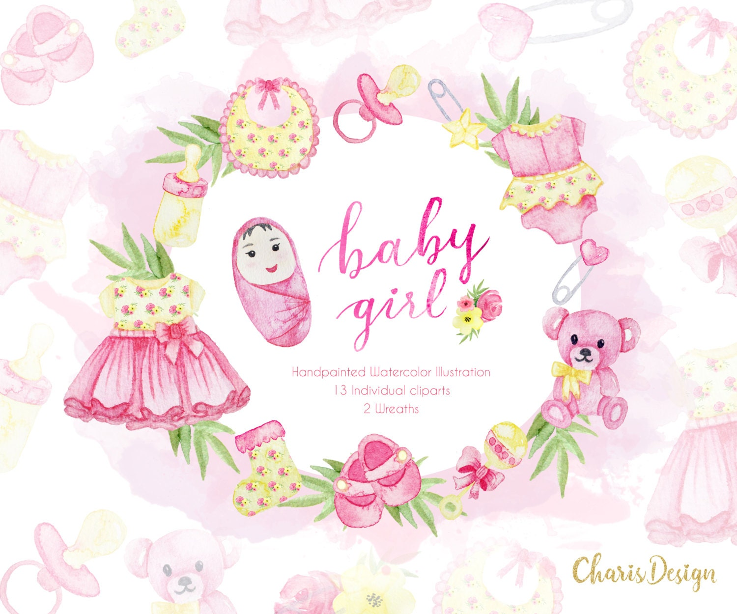 BABY GIRL, baby clipart, baby illustration, baby shower ...