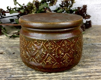 French Butter Crock bronze vintage handmade pottery