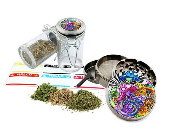 "Mushrooms - 2.5"" Zinc Alloy Grinder & 75ml Locking Top Glass Jar Combo Gift Set Item # 110514-0039"
