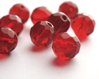 10 Faceted Glass Round Beads Ruby Red Size 12mm