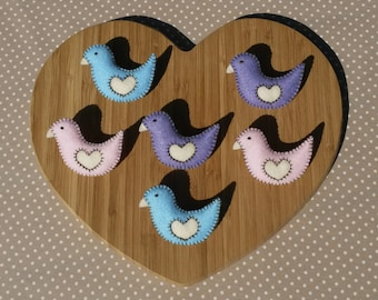 Handmade Colourful Felt Bird Brooches - Pastel