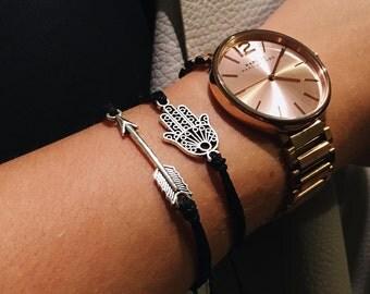 Arrow Bracelet   Black, waterproof, adjustable, surf bracelet