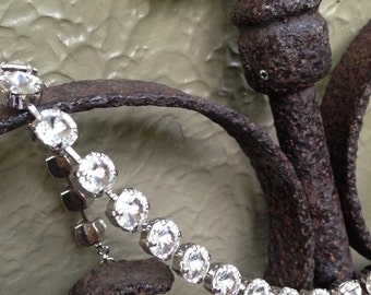 Crystal 8.5mm Antique Silver Necklace