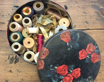 Vintage 1960s Tin Full of Sewing Supplies Destash Roses (A917)