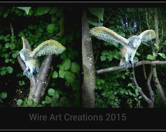 Handmade life size Barn Owl wire sculpture