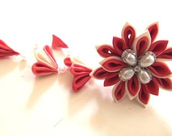 Japanese tsunami-zaiku hair clip / orange flower