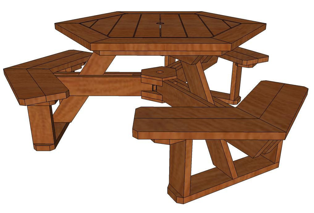 Hexagon Picnic Table How To Plan From Mikesplans On Etsy