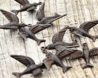 2 Bird Charms, Brown Bird, Swallow, Rustic Bird, Mockingbird, Blackbird, Patina Bird, Antiqued Bird, Bird Stamping, Brass Stamping