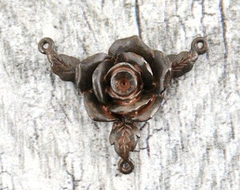 Rosary, Centerpiece, Rose, Connector, Metal Rose, Antiqued, Rustic, Brown, Artisan, Rustic Connector, Patina Rose, Distressed