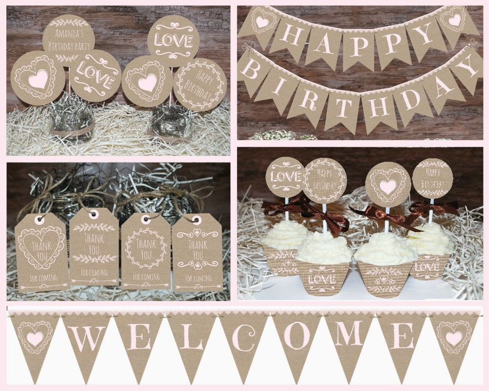 Rustic Birthday Decorations Printable First Party Decors Girl Burlap