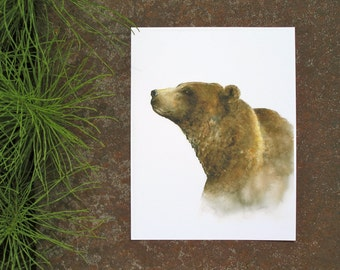 Watercolor bear print, bear watercolor painting, bear art print, woodland animal print, brown bear wall decor, grizzly bear print, 11x14, E1