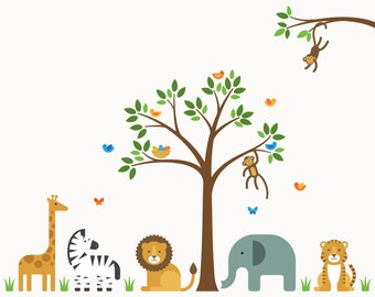 Nursery Zoo Decal, Nursery Zoo, Nursery Wall Decal - Large