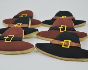 Pilgrim Hat -  Thanksgiving Cookies - Decorated Iced Sugar Cookies - One Dozen