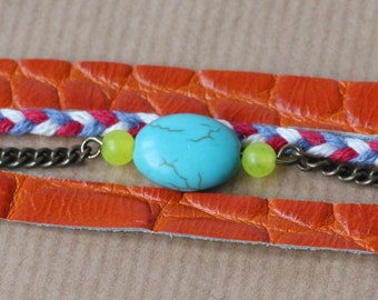 Row leather bracelet, chain and Pearl
