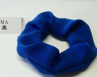 Blue crepe scrunchie