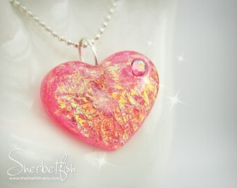 Pink treasure heart necklace, statement necklace, womens jewellery, statement jewellery, Gifts for women, pink jewellery