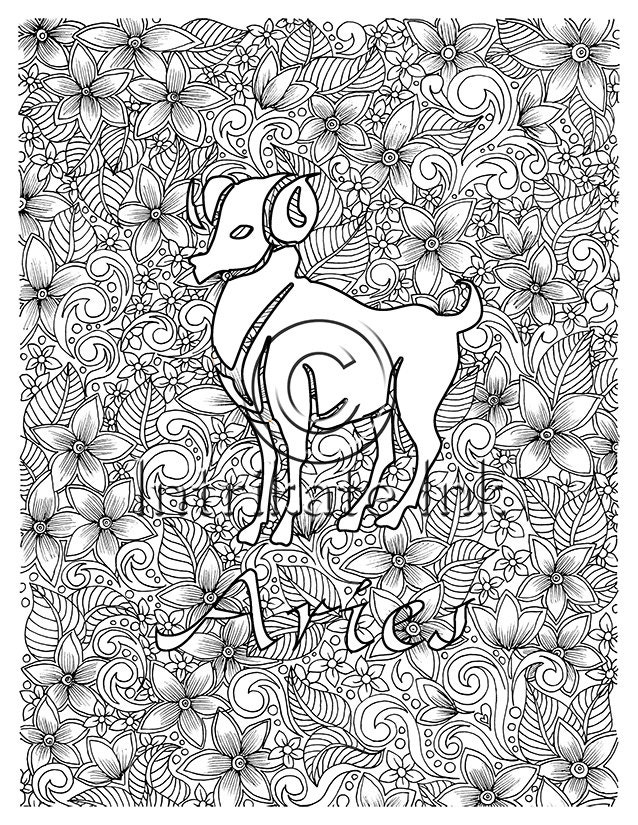 Aries Coloring Page Zodiac Sign Birtday Month March