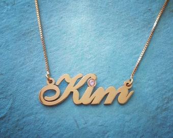 18k Gold Plated ANY name necklace / Gold name necklace / Order any name / Personalized jewelry / personalized pendant / Birthstone design