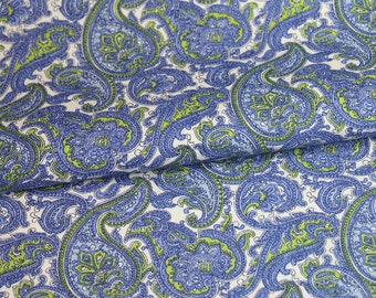 Paisley Power fabric by the yard - blue green C-466