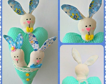 Easter Bunnies and Heart Hanging Ornament, Handmade Bunnies, Stuffed Animal, Home and Holiday Decor, Handmade Easter Decoration