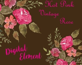 Watercolor Flower Clipart, Watercolor Floral Clipart, Fuchia Pink Watercolor Floral Clipart, Digital Shabby Rose Clipart. No. WC.17