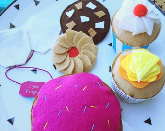 donut, cupcakes, biscuits and tea felt play food