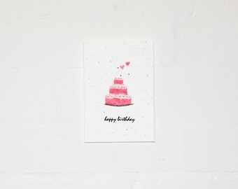 Happy Birthday Cake Plantable Card