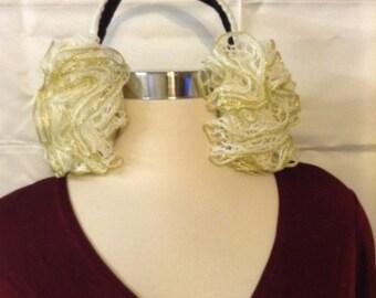 white and gold ruffle earmuffs