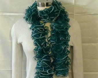 Green and silver ruffle scarf