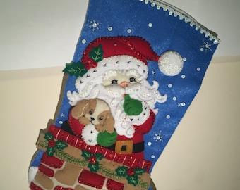 Santa's Secret & Puppy Handmade Christmas Stocking Bucilla **Free Shipping**