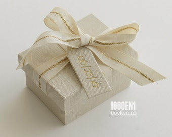 Personalized ring box with natural linen and ribbon with golden stripe