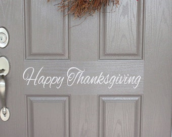 Happy Thanksgiving Door Decal | Front Door Decal | Fall Door Decal | Thanksgiving Door Decal | Thanksgiving Decor | Thanksgiving Decoration
