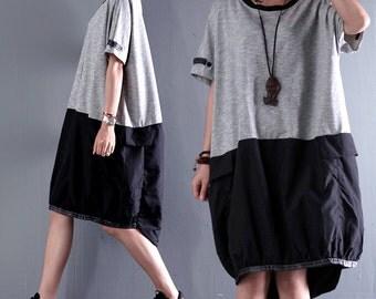 Women summer dress cotton knit short-sleeved dress stitching dresses