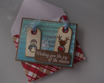 Christmas card - Penguin and reindeer