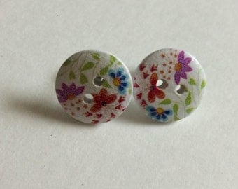 Spring Blooms - Button Earrings