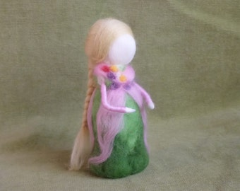 Waldorf inspired Wool Fairy, needle felted - Rosy fairy