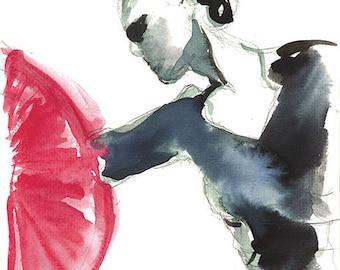 Flamenco dancer, drawing, ink, oil pastel