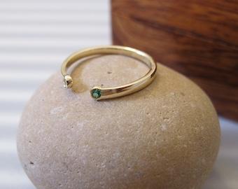 Dual Birthstone Ring / Birthstone Ring / Gold Birthstone Ring  / 14K Gold Ring / Stacking Rings / Tiny Diamond Cuff Ring