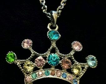 Rhinestone Princess Crown Necklace