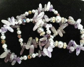 Set of 3 Amthyst and glass beaded bracelets