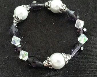 Purple Czech glass and crystal beaded bracelet