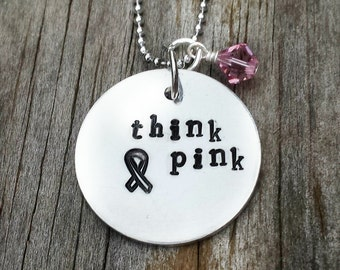 Hand stamped Jewelry - Think Pink Necklace - Breast Cancer Awareness Gifts - Hand Stamped Necklace - Pink Ribbon Breast Cancer Necklace