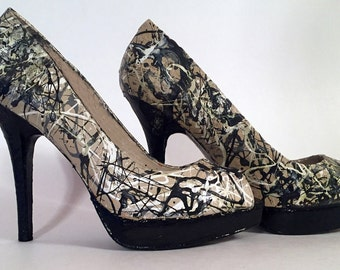 Hand Painted Pumps - Jackson Pollock 'Autumn Rhythm (Number 30)' High Heels