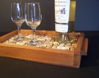 Wine cork serving tray, Recycled, Refurbished, Ecofriendly, Home Decor,  display, functional, handmade, gift item