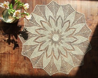 Linen (Gray) Cozy Crochet Tablecloth, Tablerunner, Doily, Place Mat, For Home Decor.