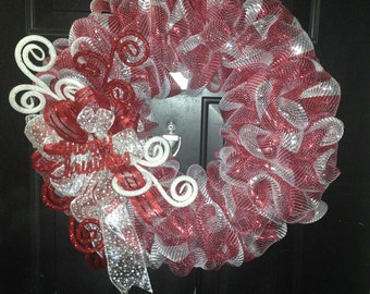 Peppermint swirl deco mesh wreath