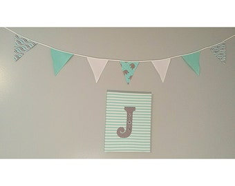 Bunting flags Bunting banner Nursery decor Baby shower Reusable gerland Turquoise White Gray Gerland Flags Fabric Flags