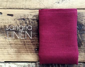 pocket square in sangria linen