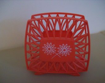Napkin Holder Orange-Red, 1960's. Price Includes Shipping.